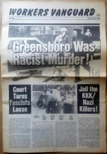 'Greensboro Was Racist Murder! Court Turns Fascists Loose - Jail the KKK/Nazi Killers!', in 'Workers Vanguard', Spartacist League, United States, 1980.