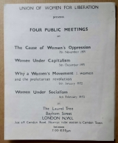 Union of Women for Emancipation, London, 1971.