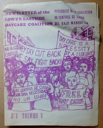 'Newsletter of the Lower Eastside Daycare Coalition', New York, [early 1970's]. First issue.